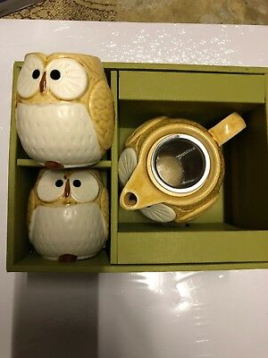 3 PCS. Japanese Kotobuki Brown Lucky Owl Tea Pot Cups Gift Box Set Made in Japan