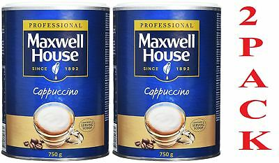 2 x Maxwell House Cappuccino 750g Large Tin Instant Home Office Work Catering