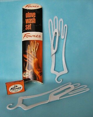 Vintage FOWNES Ladies Glove Wash Set - Hand Shaped Supports, Soap & Instructions