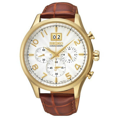 Seiko Gents Chronograph Dress Watch G.P. 100M Leather band SPC088P1 UK Seller