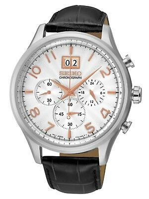 Seiko Gents Chronograph Dress Watch Steel 100M Leather band SPC087P1 UK Seller