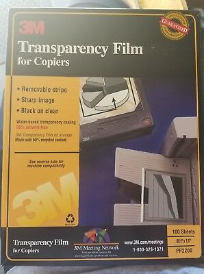 """3M Transparency Film 8.5"""" X 11"""" PP 2200 100 Sheets for copiers"""