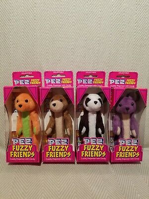 "PEZ FUZZY FRIENDS BEARS Set of Four 5"" Dispensers RETIRED!"