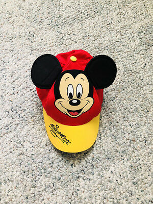 47a8df63c98 VTG MICKEY MOUSE 3D Ears Baseball Cap Hat Disney Park Original Youth  SNAPBACK