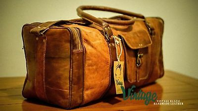 NEW Vintage Handmade Goat Leather Duffle Bag,Gym Bag,Overnight Bag Square 24""