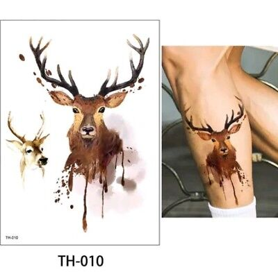 Stag Temporary Tattoos A5 Adults Body Tattoo Art antlers Wildlife Deer Stags 🌿