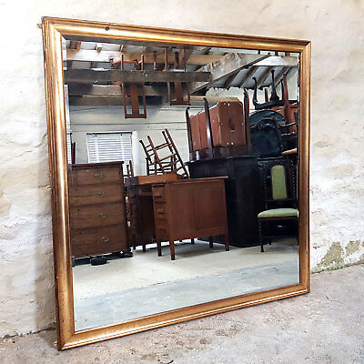 "Very Large 5'2"" x 5'2 Gilt & Gesso Square Frame Wall Mirror (Antique)"
