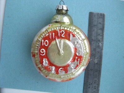 Vintage Russian Christmas Silver glass ornament  Large Clock