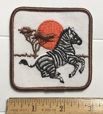 Running Zebra Sunset Souvenir African Animal Embroidered Patch