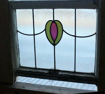 Original Art Deco English Stained Glass Window Original Sash Frame