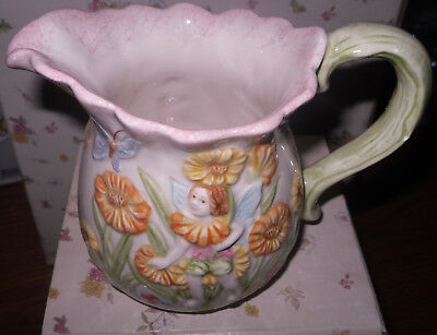 Popular Enchanted Garden FANTASY FAIRIES Ceramic Creamer / Pitcher w/Butterflies