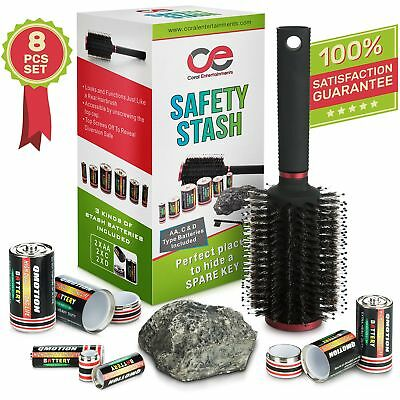 Battery Secret Stash, Hairbrush & Rock Diversion Safe Set By Coral Enterta..