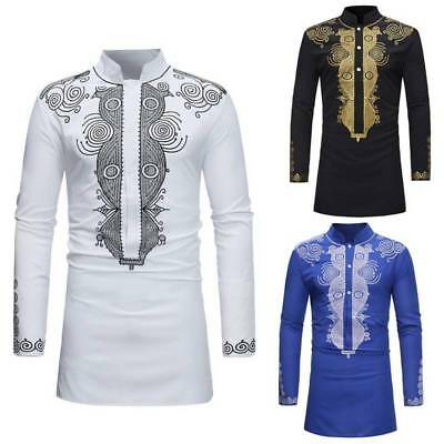 Male Dashiki Shirts Long Sleeve Bohemia Tops Men African Print Ethnic Blouse NEW
