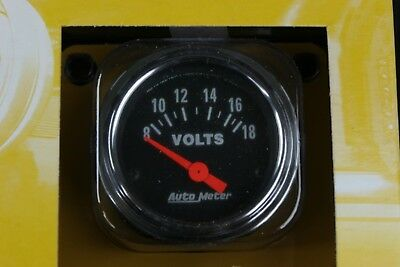 """Auto Meter 2592 Traditional Chrome Electric Voltmeter 2 1/16"""" (8-18 Volts) SP409"""