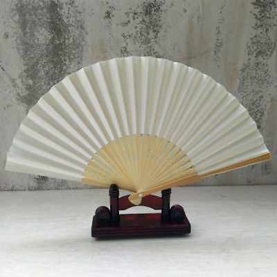 Folding Dance Wedding Party Lace Silk Folding Hand Held Solid Color Fan Milk