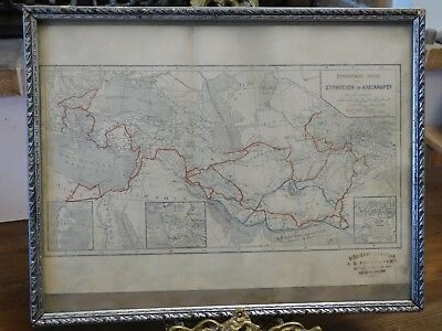 19th C ANTIQUE MAP OF ALEXANDER THE GREAT MILITARY EXPEDITION WRITTEN IN GREEK!