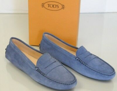 2401c9a2bb6 New TOD S Tods Flats Mocassins Penny Driving Moccasins Navy Blue Suede Shoes  40