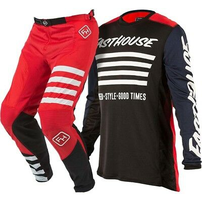 Fasthouse NEW Mx 2018 L1 Stripes Red/Navy Speed Style Motocross Gear Set