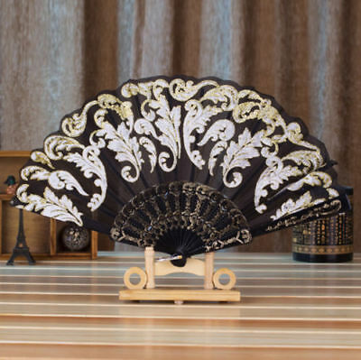 Chinese Style Dance Wedding Party Lace Silk Folding Hand Held Flower Fan Black
