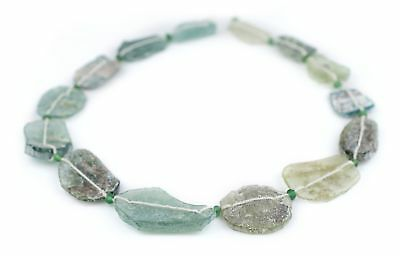 Oval Disk Roman Glass Beads 23-39mm Afghanistan Green Flat 18 Inch Strand