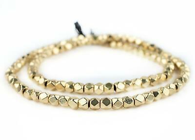 Gold Faceted Diamond Cut Beads 6mm Brass Large Hole 24 Inch Strand