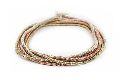 3 Strand Bundle: Ethiopian Heishi Beads 4mm Silver, Brass, Copper African