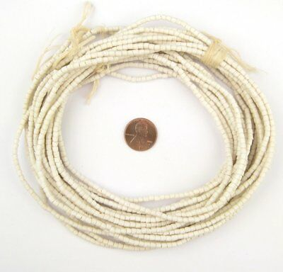Moonlight White Sandcast Seed Beads 3mm Ghana African Cylinder Glass Handmade