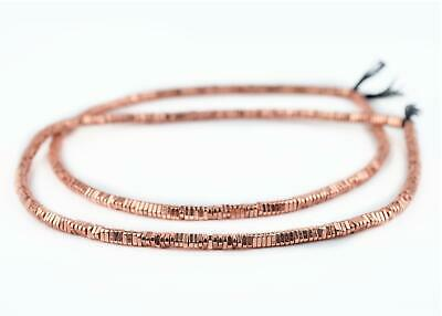 Faceted Copper Triangle Heishi Beads 4mm Large Hole 16 Inch Strand