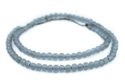 Sky Grey Frosted Sea Glass Beads 7mm Round Large Hole 24 Inch Strand