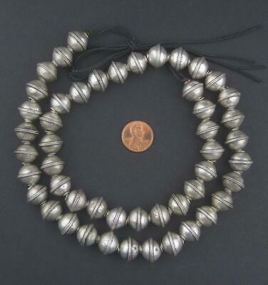 Berber Silver Bicone Beads 12x14mm Morocco African White Metal 26 Inch Strand