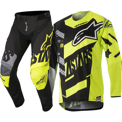 Alpinestars NEW Mx 2018 Techstar Screamer Black Fluro Adults Motocross Gear Set
