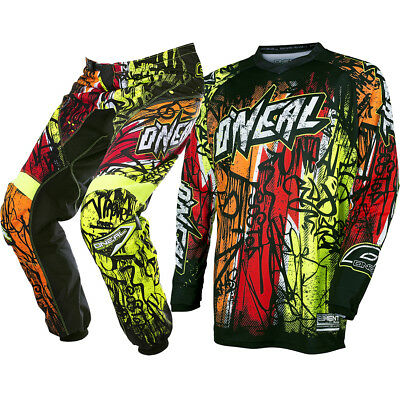 Oneal 2018 NEW Mx Element Vandal Jersey Pants BMX Black Neon Motocross Gear Set