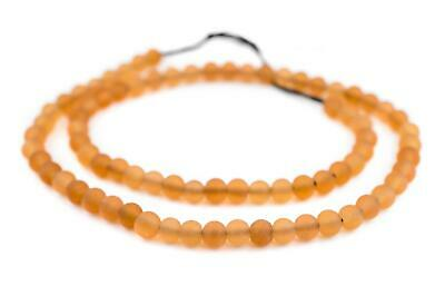 Orange Frosted Sea Glass Beads 7mm Round Large Hole 24 Inch Strand