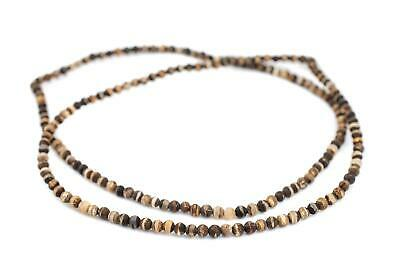 Matte Round Striped Tibetan Agate Beads 4mm Brown Gemstone 14 Inch Strand