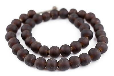 Dark Brown Frosted Sea Glass Beads 14mm Round Large Hole 24 Inch Strand