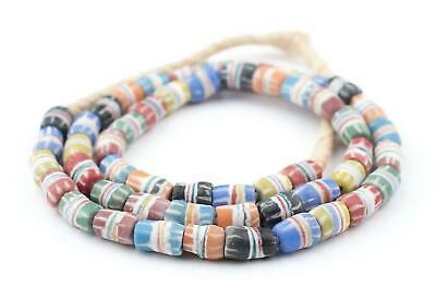 Multicolor Strawstack Sandcast Beads 8mm Ghana African Cylinder Glass Large Hole