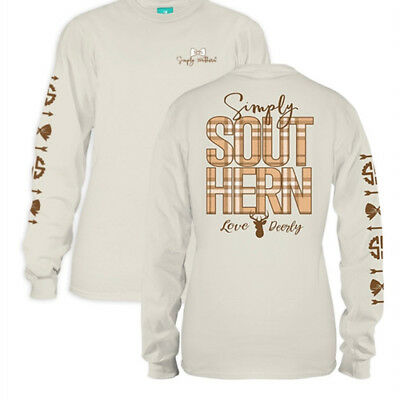 Simply Southern Womens Long Sleeve Preppy Deer Logo T-Shirt Pearl