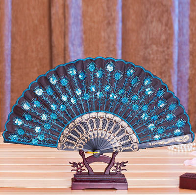 Peacock Pattern Folding Hand Held Danc Fan Embroidered Sequin Party Wedding