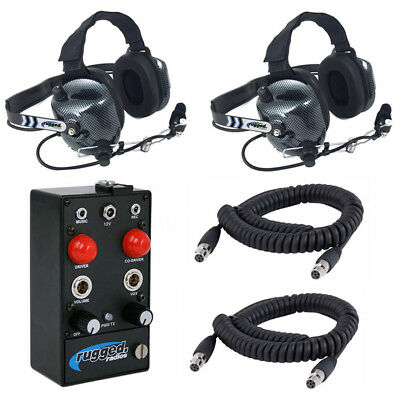 Rugged Radios RRP242 2 Seat Intercom Kit w/ H41 Carbon Fiber Headsets & Cables