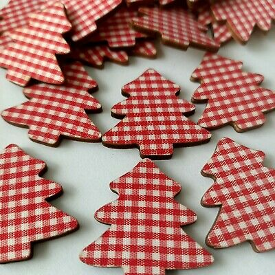 6 CHRISTMAS Tree Flatbacks Wooden Fabric Red LOCATED IN AUSTRALIA A14