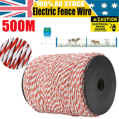 500m Polywire for Electric Fence Energiser Fencing Kit Stainless Steel Wire