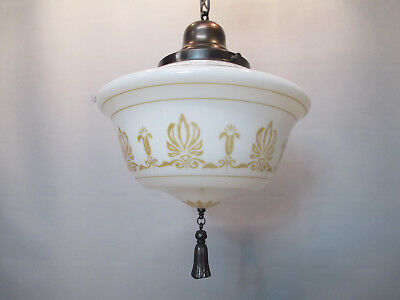 "Vintage Antique Art Deco Ceiling Light Fixture Gothic Moorish 37 1/2"" Long"