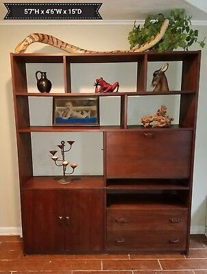 Vintage Mid Century Modern Wood Book Shelf Wall Unit 1960s NICE!