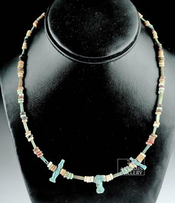 Egyptian Faience Necklace w/ Three Blue Faience Amulets Lot 3A