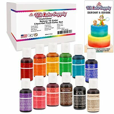 FOOD COLORING LIQUA-GEL - 6 Color Rainbow Kit in .75 fl. oz. (20ml ...