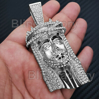 Hip Hop Iced Out White Gold Plated Bling Lab Diamond Large Jesus Head Pendant