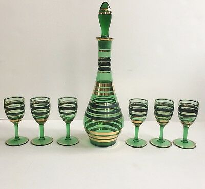 Vtg Mid Century Modern Bohemian Decanter Genie Bottle Footed Glasses Set Green