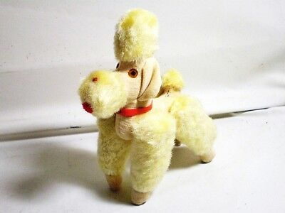 Vintage 1950s stuffed Yellow Poodle jointed poseable doll Japan