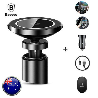 Baseus Qi Wireless Fast Charger Magnetic Car Holder For Samsung S10+ iPhone XS