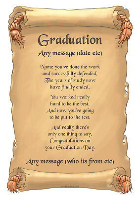 personalised named graduation A4 scroll card gift son daughter